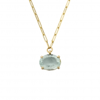 AUKAI Gold Aquamarine Claw Trace Chain Necklace