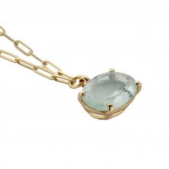 AUKAI Gold Aquamarine Claw Trace Chain Necklace detailed