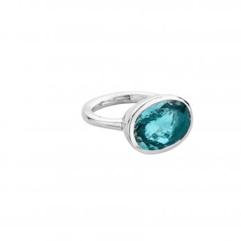 AZORA Silver Aquamarine Ring