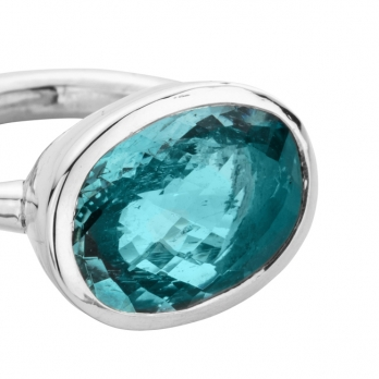 AZORA Silver Aquamarine Ring detailed