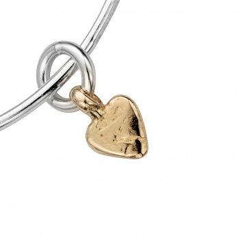 Silver & Gold Baby Heart Bangle detailed