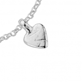 Silver Baby Heart Chain Bracelet detailed