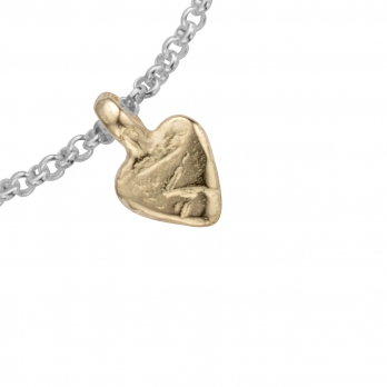 Silver & Gold Baby Heart Chain Bracelet detailed