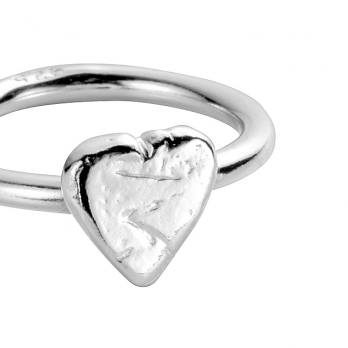 Silver Love Struck Baby Heart Ring detailed