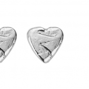 Silver Baby Heart Stud Earrings detailed