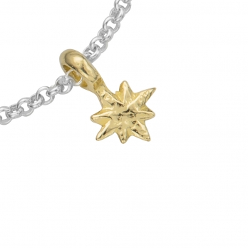 Silver & Gold Baby North Star Chain Bracelet detailed