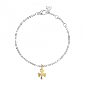 Silver & Gold Baby Shamrock Chain Bracelet