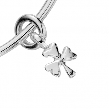 Silver Baby Shamrock Mini Bangle detailed