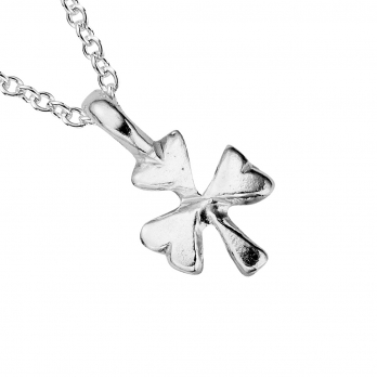 Silver Baby Shamrock Necklace detailed