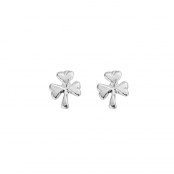 Silver Baby Shamrock Stud Earrings
