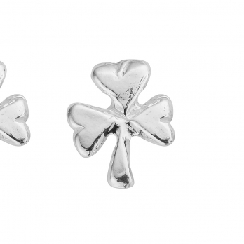 Silver Baby Shamrock Stud Earrings detailed