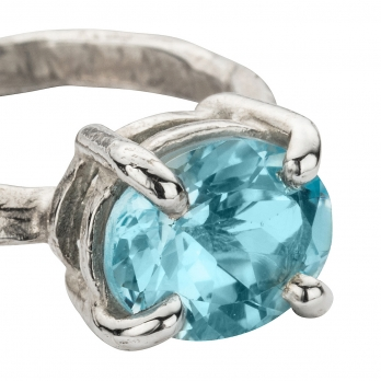 Silver Blue Topaz Claw Ring detailed