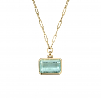 CELINA Gold Aquamarine & Diamond Trace Chain Necklace