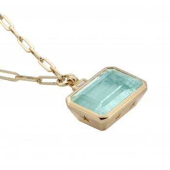 CELINA Gold Aquamarine & Diamond Trace Chain Necklace detailed