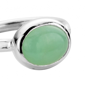 Silver Chrysoprase Baby Treasure Ring detailed