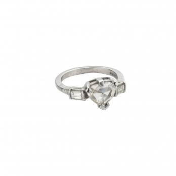 Cinderella Diamond Heart Platinum Ring