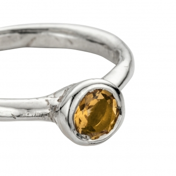 Silver Citrine Baby Stone Ring detailed