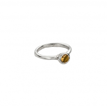 Silver Citrine Baby Stone Ring