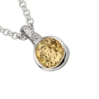 Silver Citrine Baby Treasure Necklace detailed