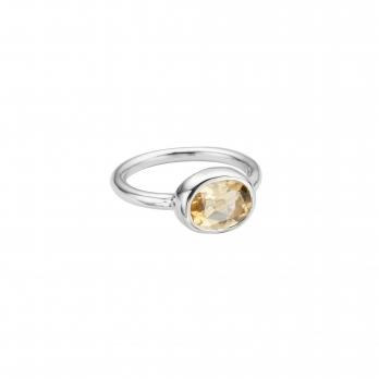 Silver Citrine Baby Treasure Ring