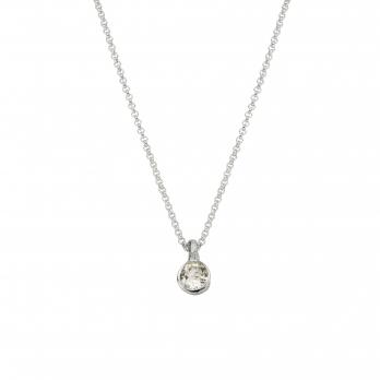 Silver Clear Quartz Baby Treasure Necklace