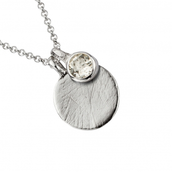 Silver Moon & Stone Clear Quartz Necklace detailed