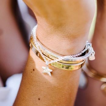 Silver Mini Star Chain Bracelet detailed