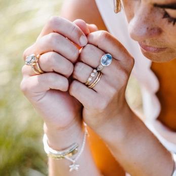 Silver Blue Topaz Treasure Ring detailed