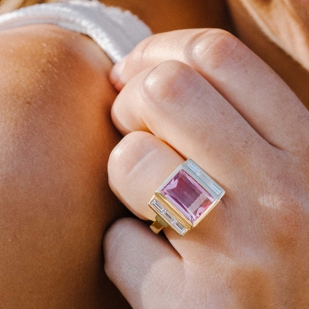 GATSBY Pink Tourmaline & Baguette Diamond Gold Ring detailed
