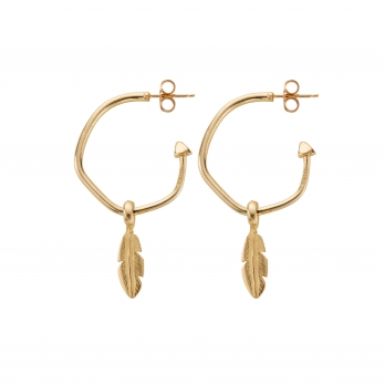 Gold Maxi Hoops with Mini Feather Charms detailed