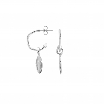 Mini Cupid Hoops with Mini Feather Charms