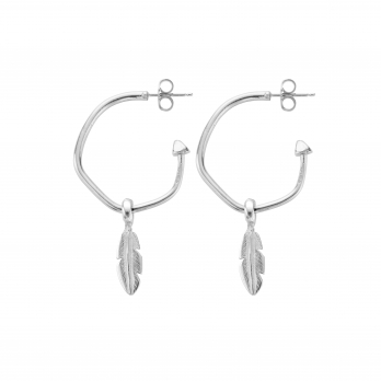 Maxi Cupid Hoops with Mini Feather Charms detailed