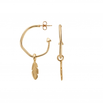 Gold Maxi Hoops with Mini Feather Charms
