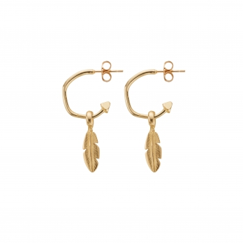 Gold Mini Hoops with Mini Feather Charms detailed