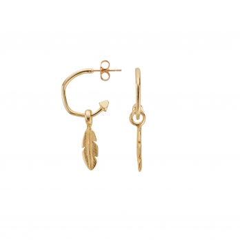 Gold Mini Hoops with Mini Feather Charms