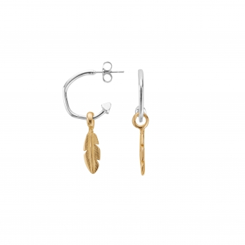 Mini Cupid Hoops With Gold Mini Feather Charms