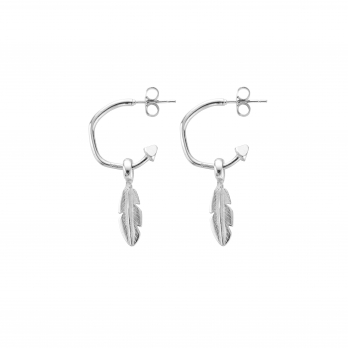 Mini Cupid Hoops with Mini Feather Charms detailed