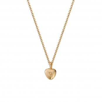 Gold Diamond Grateful Heart Necklace