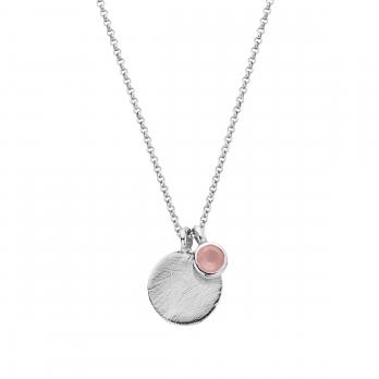 Silver Rose Quartz Moon & Stone Necklace