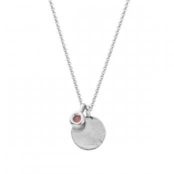 Silver Rose Quartz Moon & Stone Necklace detailed