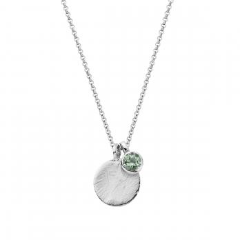 Silver Green Quartz Moon & Stone Necklace