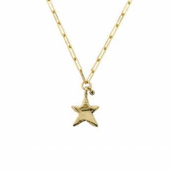 Gold Midi Star Trace Chain Necklace With Diamond detailed