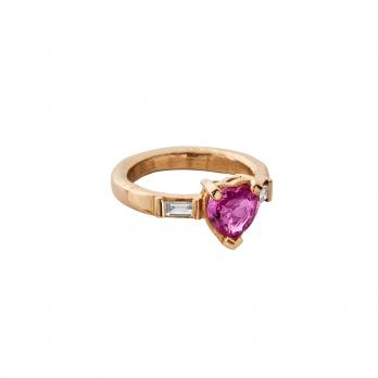 ORLA Gold Pink Sapphire & Diamond Heart Ring