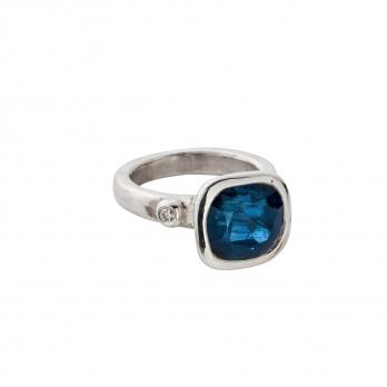 ADELAIDE Silver Sapphire & Diamond Ring