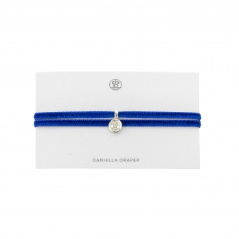 DD Tag Royal Blue Ribbon Bracelet detailed