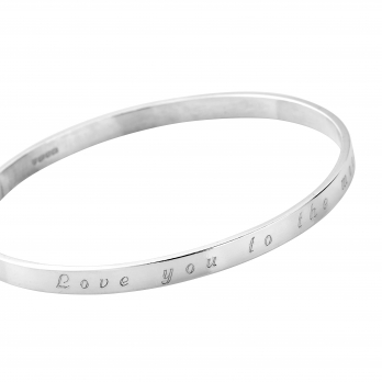 Silver Love You to the Moon & Back Full Signature Bangle detailed