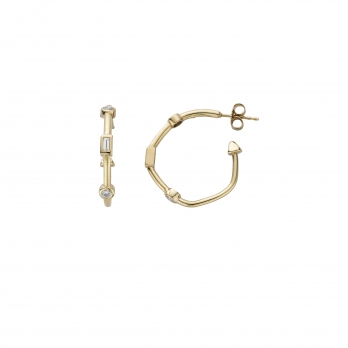 Luxury Diamond Gold Cupid Hoop Earrings