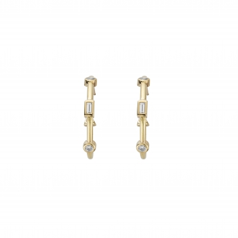 Luxury Gold Diamond Maxi Cupid Hoop Earrings