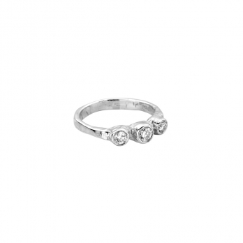 Silver Diamond Trinity Ring