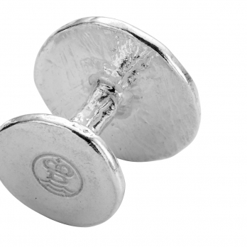 Silver Disc Cufflinks detailed